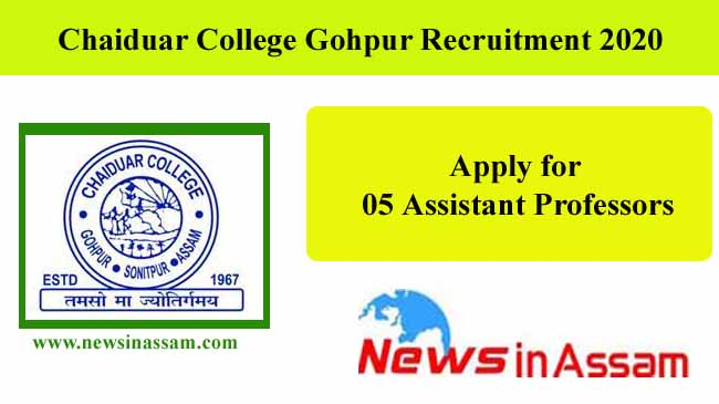 Chaiduar College Gohpur Recruitment 2020