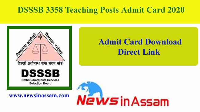 DSSSB 3358 Teaching Posts Admit Card 2020-Download